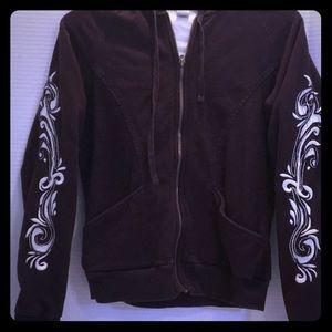 PRANA Organic Cotton BROWN Hoody Embroidery Sleeve